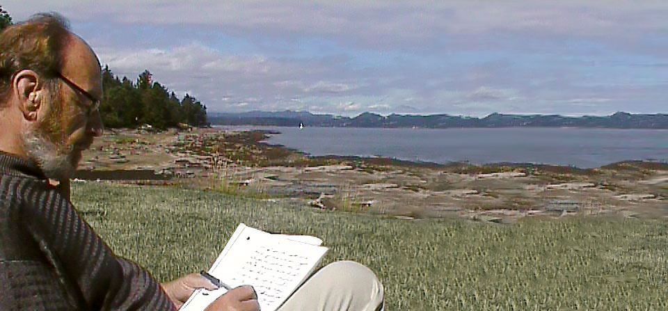 Syd writing on Salt Spring Island